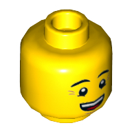 Набор LEGO Minifig Head Dual Sided Eyebrows, Crow's Feet, Open Mouth Smile / Queasy Face with Sweat Drop Print [Hollow Stud], Желтый