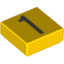 Набор LEGO Tile 1 x 1 with Silver Number 1 Print, Желтый