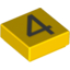 Набор LEGO Tile 1 x 1 with Silver Number 4 Print, Желтый