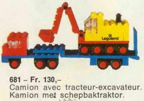 Набор LEGO 681 Low-Loader with 4 Wheel Excavator