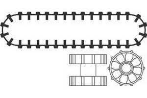 Набор LEGO 970040 Caterpillar Hub and Tread (Set of 2 treads 4 Hubs)