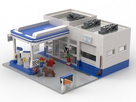 Набор LEGO MOC-20748 Mini shop and fuel station