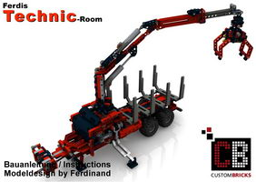 Набор LEGO MOC-7836 Class 2-axle trailer with forestry crane