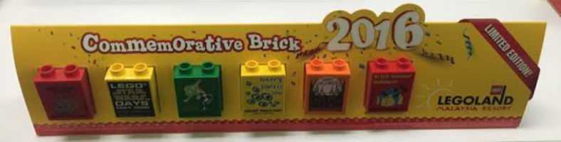 Набор LEGO LLMY01 Commemorative Brick 2016, Legoland Malaysia, Set of 6 Duplo Bricks 1 x 2 x 2